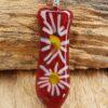 glas sieraden hanger rood met bloemen