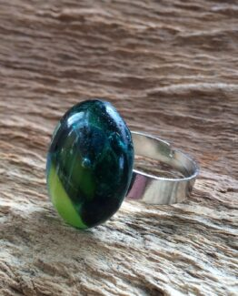 glas sieraden ring blauw-groen