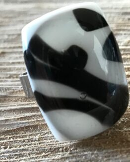glas sieraden ring wit/zwart