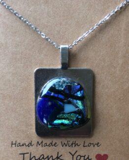 glas sieraden hangers blauw/metaal