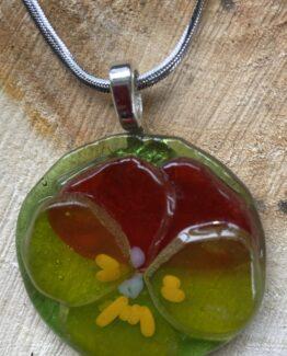 glas sieraden hanger viooltje