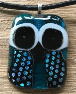 glas sieraden hangers uil-blauw