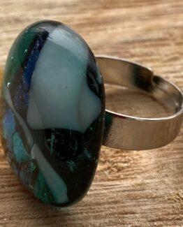 glas sieraden ring groen blauw