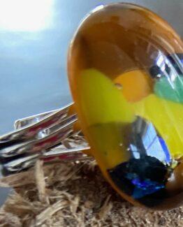 glas ring bruin groen geel